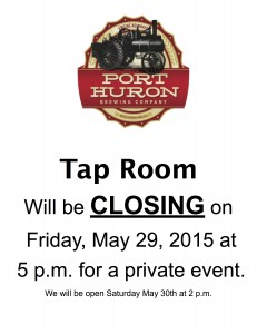 *Tap Room Early Closing Notice copy